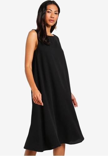 ZALORA BASICS black Basic Cut Out Back Oversized Shift Dress DFF85AA61B99DAGS_1