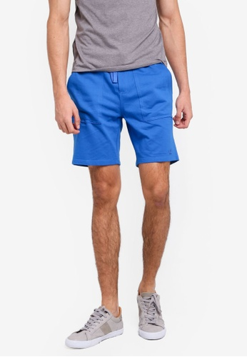 Penshoppe blue Mid Rise Knit Shorts With Drawstring 79E75AAF7559D4GS_1