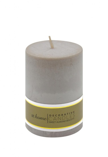 At Home grey Sweet Almond Scented Pillar Candle 2x3 69A65HL1FE0A2BGS_1