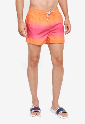 Burton Menswear London blue Pink Dip Dye Pull On Swim Shorts 02FFAUSD0C0D50GS_1