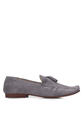 Topman grey Grey Suede Embossed Penny Loafers TO413SH0S7YTMY_1