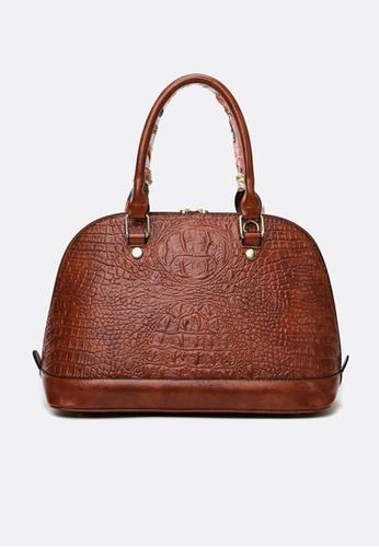 Lara brown Women's Crocodile-embossed Leather Zipper Handbag Cross-body Bag - Dark Brown 2CA72AC8EAE931GS_1
