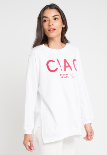 Ninety Degrees white Ciao Sweater D721CAAF745192GS_1