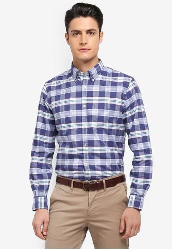 Brooks Brothers 藍色 休閒格紋牛津襯衫 98501AA62AA330GS_1