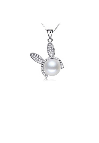 Glamorousky white 925 Sterling Silver Rabbit Pendant with Freshwater Pearl and Necklace D1B9FACE3E5C81GS_1