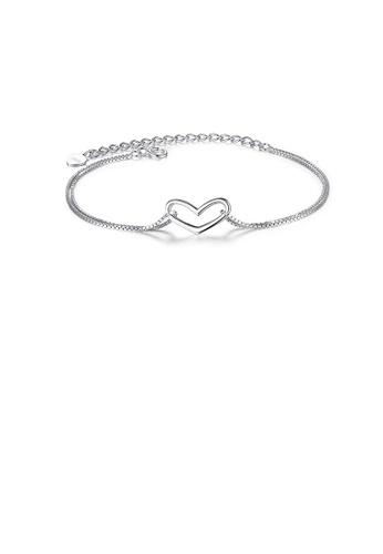 Glamorousky silver 925 Sterling Silver Simple Romantic Hollow Heart Bracelet E83F4AC45797E3GS_1