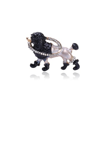 Glamorousky white Fashion Cute Plated Gold Puppy Brooch with Cubic Zirconia 36431ACDF84B99GS_1