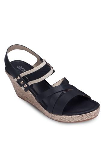 交叉esprit outlet 台中帶繞踝楔型跟涼鞋, 女鞋, 鞋