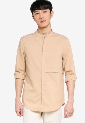 ZALORA BASICS brown Front Panel Long Sleeve Shirt B81B5AA442288AGS_1
