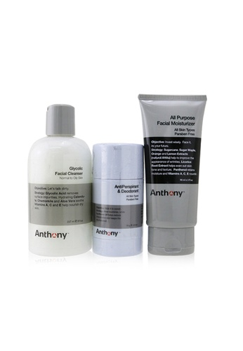 Anthony ANTHONY - Basic Kit With AntiPerspirant & Deodorant: Cleanser 237ml + Moisturizer 90ml + Deodorant 70g 3pcs 0DA3ABEAF49C65GS_1