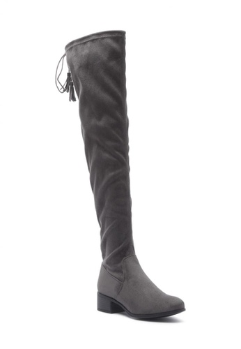 London Rag grey Faux Leather Over the Knee Boots 9B056SH4257054GS_1