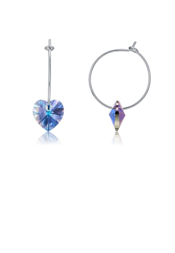 Glamorousky purple 925 Sterling Silver Simple Fashion Circle Heart Shape Earrings with Purple Austrian Element Crystal 74A8BAC5B381C3GS_1