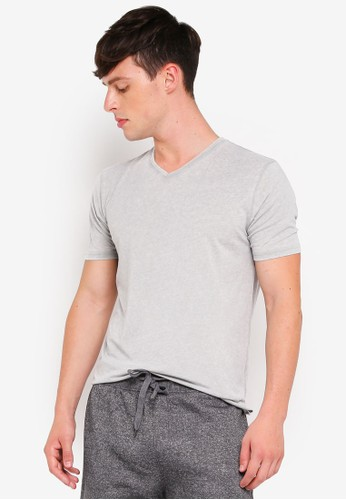 Brave Soul grey Washed Out V Neck T-Shirt 3F26EAACB665C4GS_1