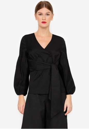 ZALORA WORK black Double Breasted Puff Sleeves Blouse DAB67AA0F55330GS_1