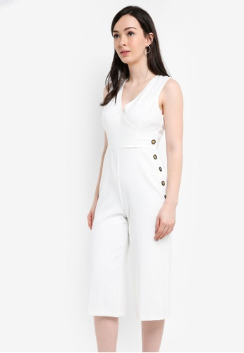 Miss Selfridge white Wrap Button Jumpsuit E385AAA67DE6F0GS_1
