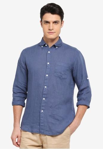 ESPRIT blue Woven Long Sleeve Shirt 4BF78AA109C6B4GS_1