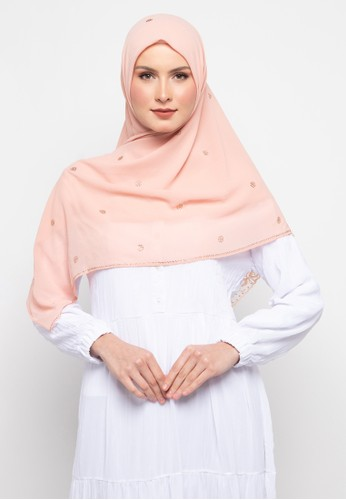 KASHKHA pink Hijab Chiffon With Lace With Stone Scarf By Kashkha/U19SHCAHJBKP9089L-Peach 0A3A9AAB098C44GS_1
