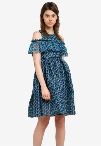Megane blue Adorlee Cold Shoulder Dress ME617AA0S0UWMY_1