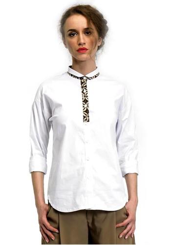 Beyounique white Long sleeve Shirt contrast Batik 281E7AA2B8BCF0GS_1