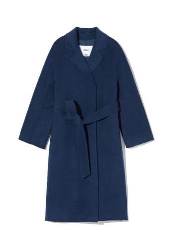 LOS ANGELES PROJECT -FASHION navy Waist-tie overcoat. 2E61CAAD6B2530GS_1