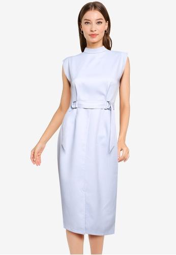 ZALORA WORK blue D Ring Sheath Dress 1ED2EAA205C86DGS_1
