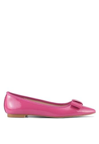 Velvet 粉紅色 Faux Patent Leather Flats 51A82SH0D6E2C5GS_1