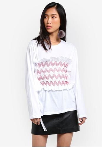 Stylenanda white Frilly Shirring Long Sleeve Top ST343AA0RV7RMY_1