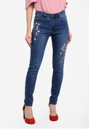 Something Borrowed blue Embroidery Skinny Jeans 665A6ZZA519C53GS_1