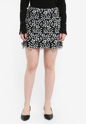 French Connection black Fulaga Floral Lace Mini Skirt EF52AAAC6F4884GS_1