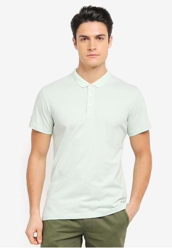 ZALORA green Small Collar Jersey Polo Shirt D74C4AA9767566GS_1