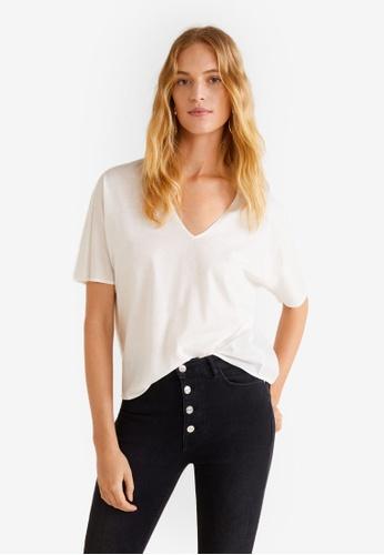 Mango white Pleats Cotton T-Shirt A2B9AAA97D18D9GS_1