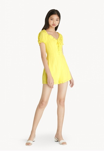 Pomelo yellow Puffed Sleeve Lace Up Romper - Yellow 9DAA6AA24F50B3GS_1