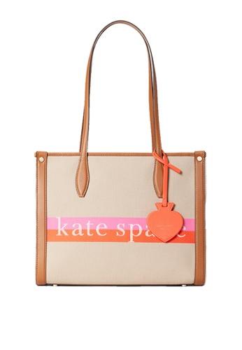 KATE SPADE pink and beige Kate Spade Market Stripe Logo Medium Tote pxr00518 Pink Multi C21EBAC9F557DDGS_1