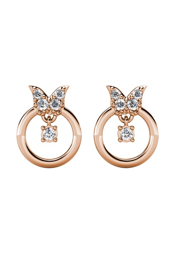 Her Jewellery gold Papillion Earrings (Rose Gold) - Made with Premium grade crystals from Austria BB2E6AC072316FGS_1