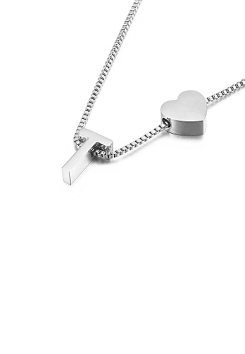 Glamorousky silver Simple and Fashion Heart-shaped English Alphabet T 316L Stainless Steel Pendant with Necklace ABA39ACC9AF354GS_1
