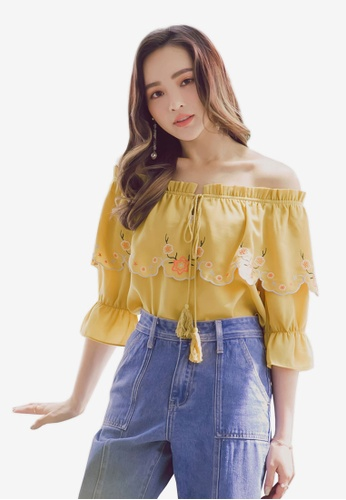 Yoco yellow Embroidered Off-Shoulder Tie Blouse E8625AA51C18DAGS_1