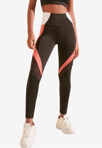 Trendyol black Colorblock Mesh Leggings B5A6FAA191A63AGS_1