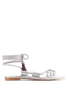 【ZALORA】 編織纏繞踝帶流蘇平底涼鞋