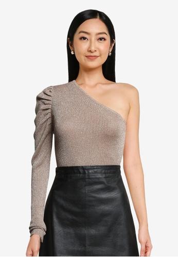 JACQUELINE DE YONG beige Bodilla One Shoulder Glitter Knit Top 8C1E4AAD9F1F70GS_1