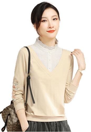 A-IN GIRLS beige Fake Two Piece Stitching Sweater C71E6AAA5D8183GS_1