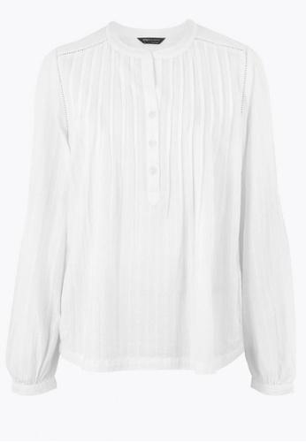 MARKS & SPENCER white Cotton Pintuck Long Sleeve Blouse D1DA0AAA862701GS_1