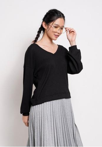 Fave black Women Knit Long Sleeve Blouse 395A7AAA373724GS_1