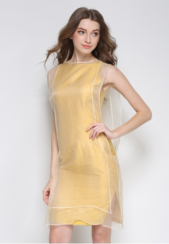 Sunnydaysweety yellow Yellow Silk Double Layered One Piece Dress K20043095 FA21EAACF732B8GS_1