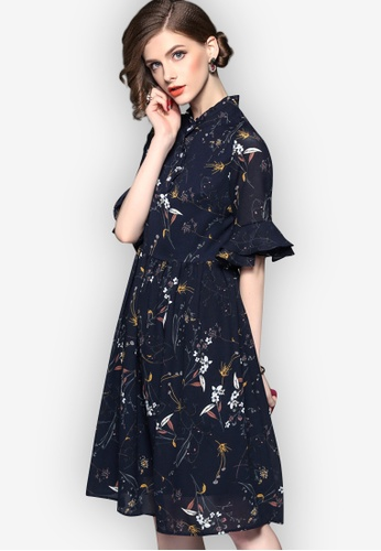 Sunnydaysweety blue 2018 S/S New Chiffon Floral One Piece Dress 88F88AA852DDEDGS_1