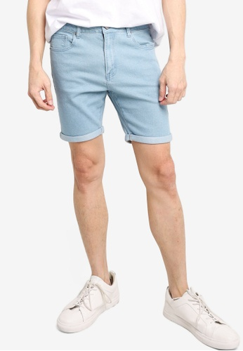 ZALORA BASICS blue Rolled Cuffed Denim Shorts F78E9AADD3EB2CGS_1