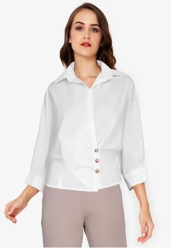 ZALORA WORK white Wrap Detail Shirt 93727AA2971805GS_1