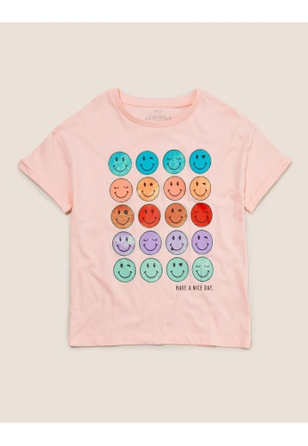 MARKS & SPENCER pink M&S Organic Pure Cotton Smile T-shirt (6-14 Yrs) 05E35KAA68BE2DGS_1