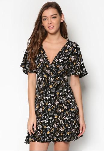 Petesprit outlet 桃園ite Elora 裹飾V 領印花洋裝, 服飾, 貼身誘惑