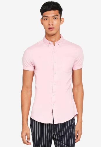 Topman pink Pink Oxford Short Sleeve Shirt 9D454AA23512CEGS_1