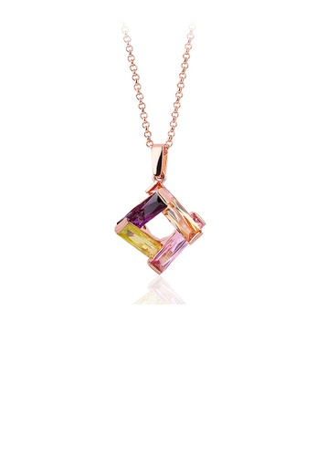 Glamorousky multi Fashion Plated Rose Gold Geometric Square Pendant with Austrian Element Crystal DAAF1AC49C4479GS_1